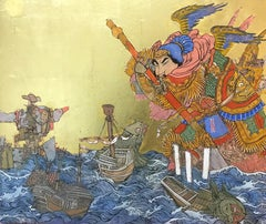 Giant At Sea, Asian Inspired Painting with Samurai, Ink, egg-tempera, gold leaf