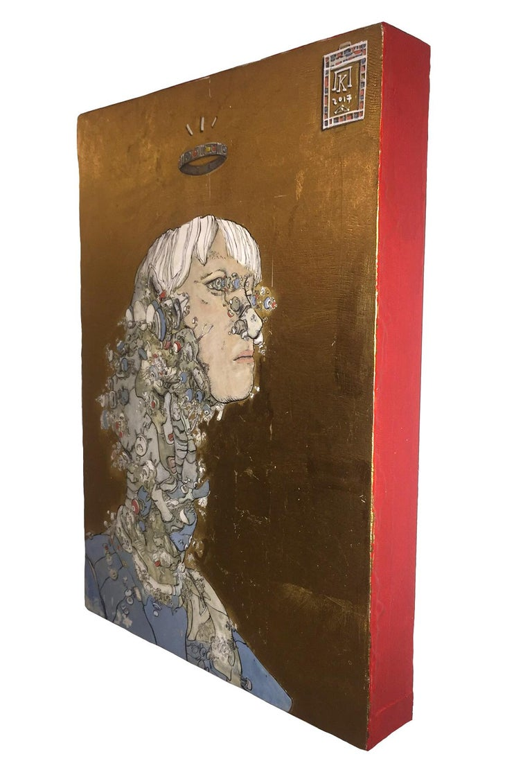Queen Artemis as Medea, Sci-fi Inspired, Ink, egg-tempera, gold leaf on panel - Contemporary Painting by Konstantinos Papamichalopoulos