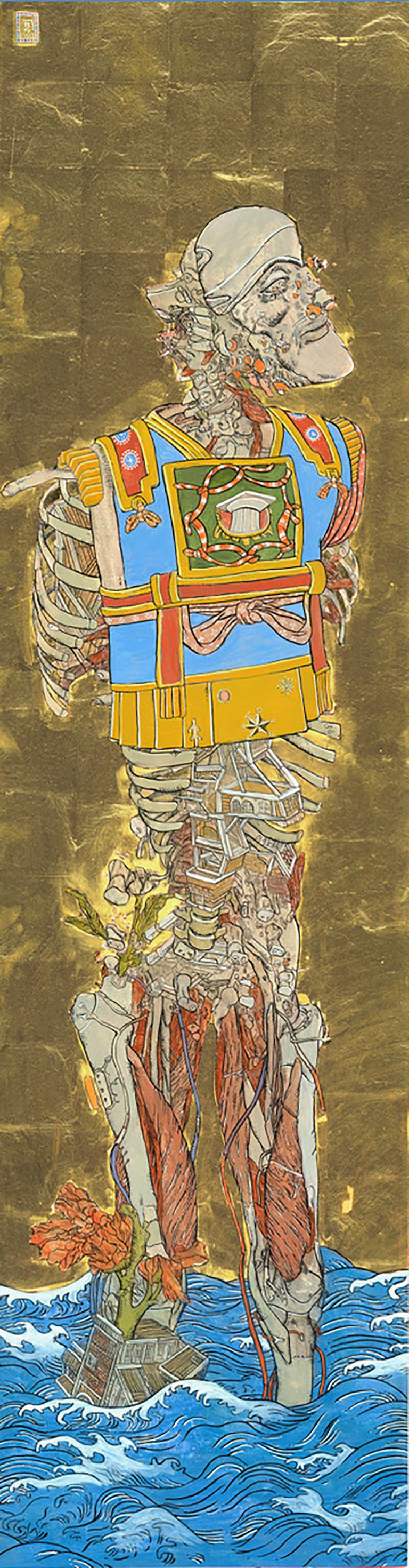 The Three Emperors, Futuristic painting triptych as a Byōbu-ē folding screen - Painting by Konstantinos Papamichalopoulos
