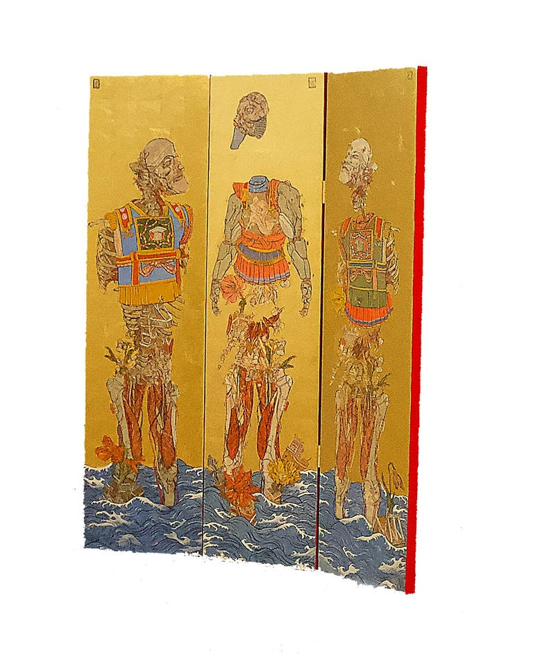 The Three Emperors is a triptych, which Papamichalopoulos has created a Byōbu-ē folding screen. Each panel measures 150x40 cm / 59 x 16 inches. The piece is created using ink, egg-tempera, and gold leaf. Illustrative and inspired by cult comics