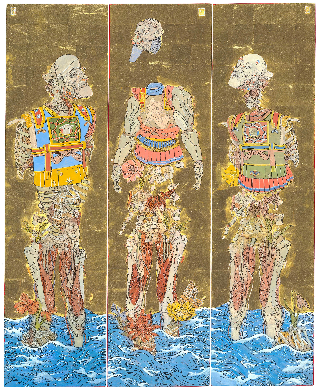 The Three Emperors, Futuristic painting triptych as a Byōbu-ē folding screen