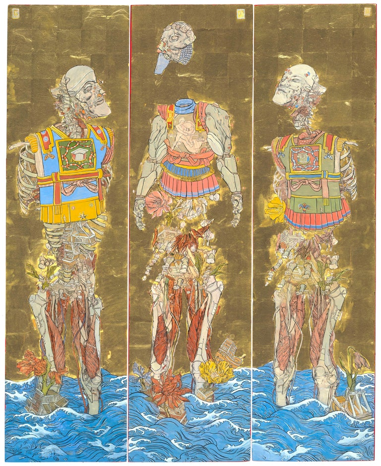 Konstantinos Papamichalopoulos Figurative Painting - The Three Emperors, Futuristic painting triptych as a Byōbu-ē folding screen