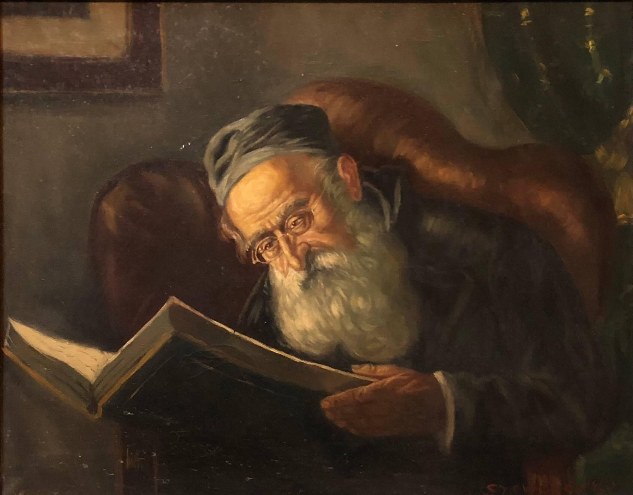 Polish Jewish Art, The Rabbi, Judaica Oil Painting