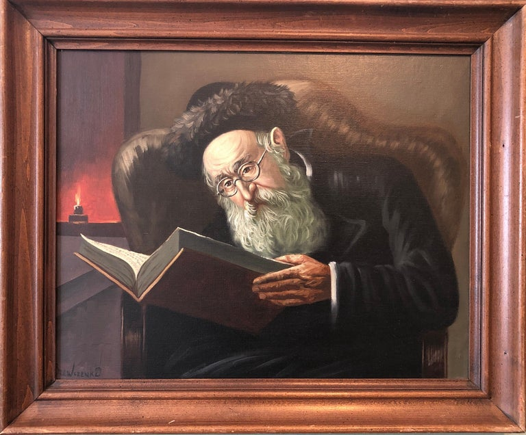 Polish Jewish Art, The Rabbi Studying, Judaica Oil Painting Szewczenko - Brown Interior Painting by KONSTANTY SZEWCZENKO