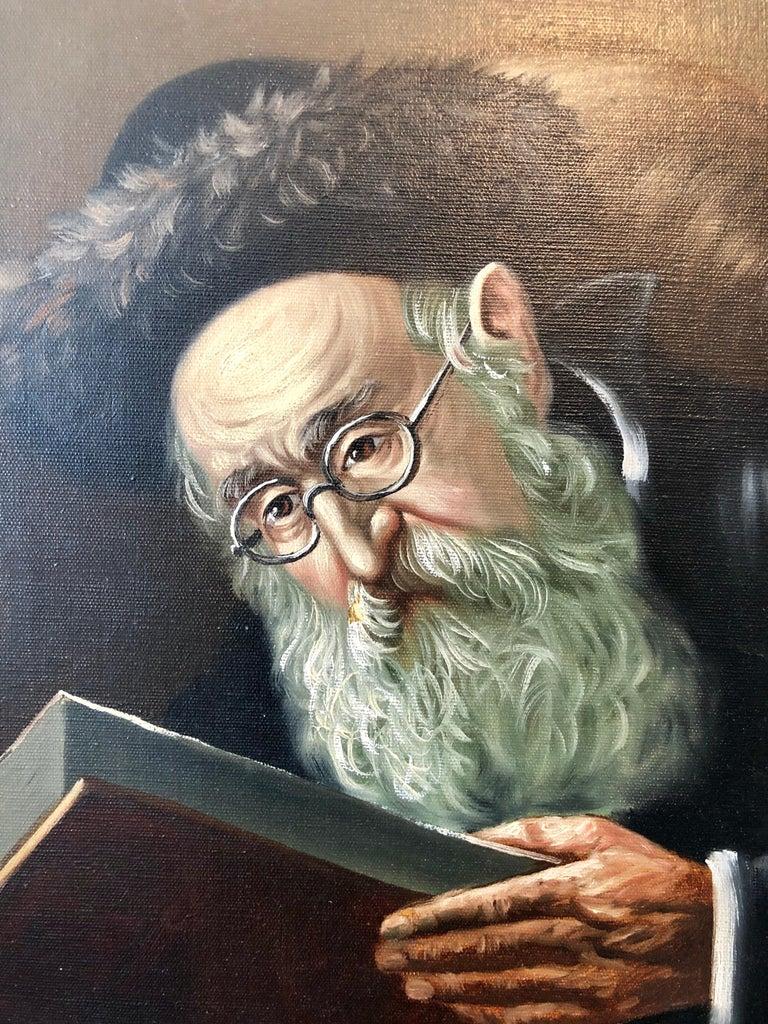 Polish Jewish Art, The Rabbi Studying, Judaica Oil Painting Szewczenko For Sale 2