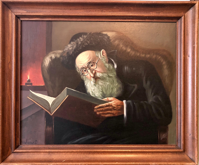 Polish Jewish Art, The Rabbi Studying, Judaica Oil Painting Szewczenko