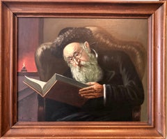 Polish Jewish Art, The Rabbi Studying, Judaica Oil Painting Szewczenko