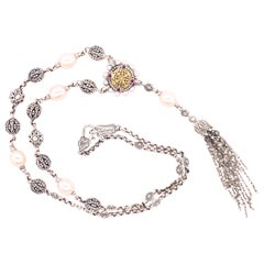 Konstatino Silver and Gold Pearl, Ruby, White Topaz Tassel Necklace