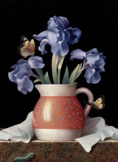 Blue Irises and Butterflies