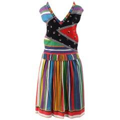KOOS VAN DEN AKKER c.1980's 2pc Multicolor Striped Boho Shirt & Skirt Resort Set