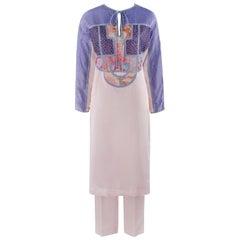 KOOS VAN DEN AKKER c.1980s 2pc Silk Floral Mod Art Wear Boho Tunic Pant Set