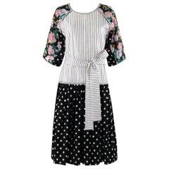 KOOS VAN DEN AKKER c.1980's Floral Stripe Mod Art Mixed Print Belted Shift Dress