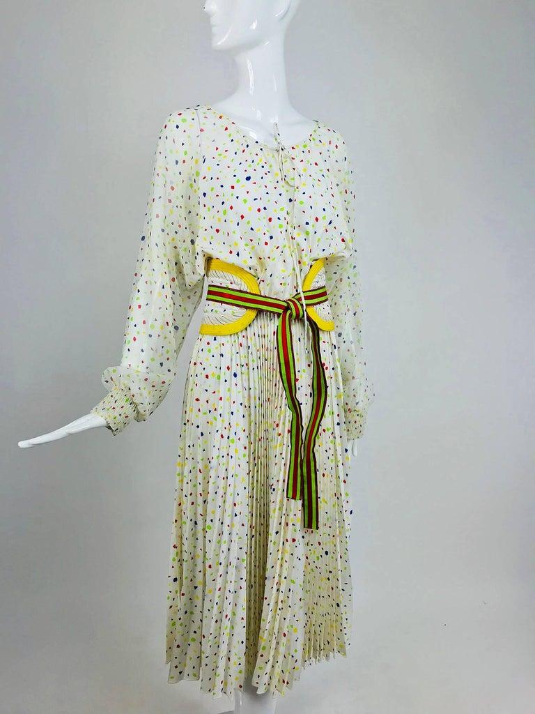 Gray Koos Van Den Akker confetti printed dress and wide belt 1980s For Sale