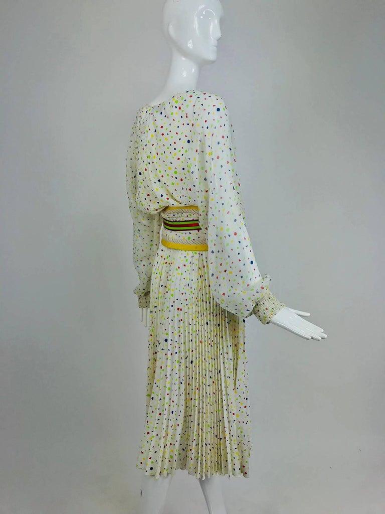 Women's Koos Van Den Akker confetti printed dress and wide belt 1980s For Sale