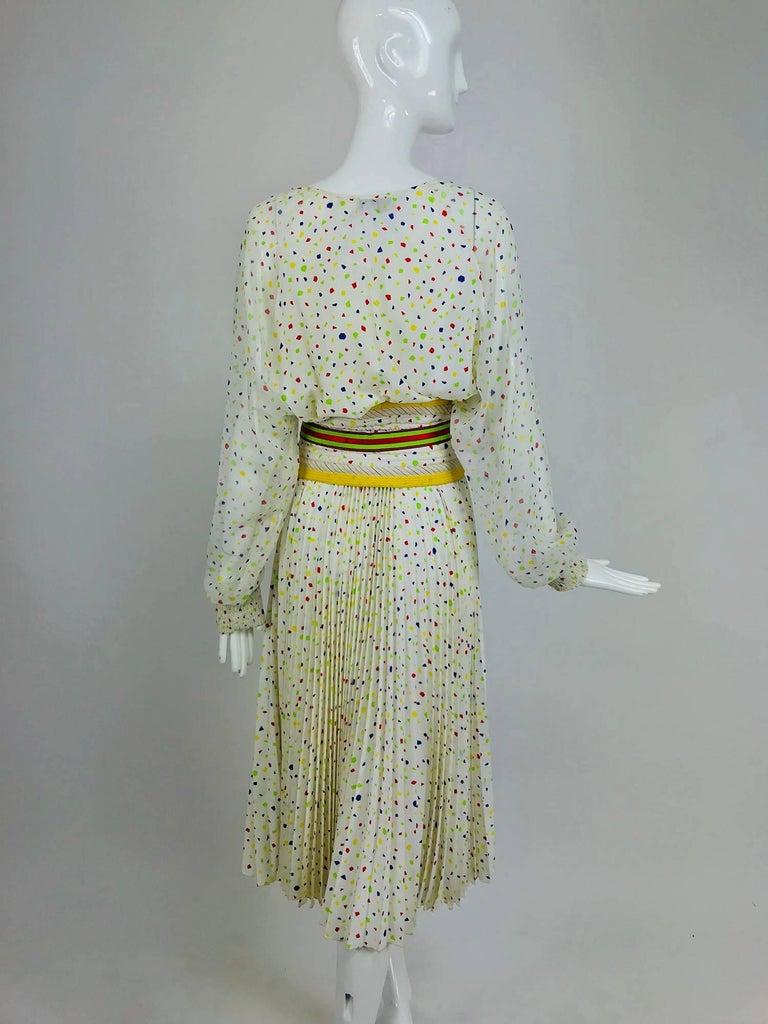 Koos Van Den Akker confetti printed dress and wide belt 1980s For Sale 1