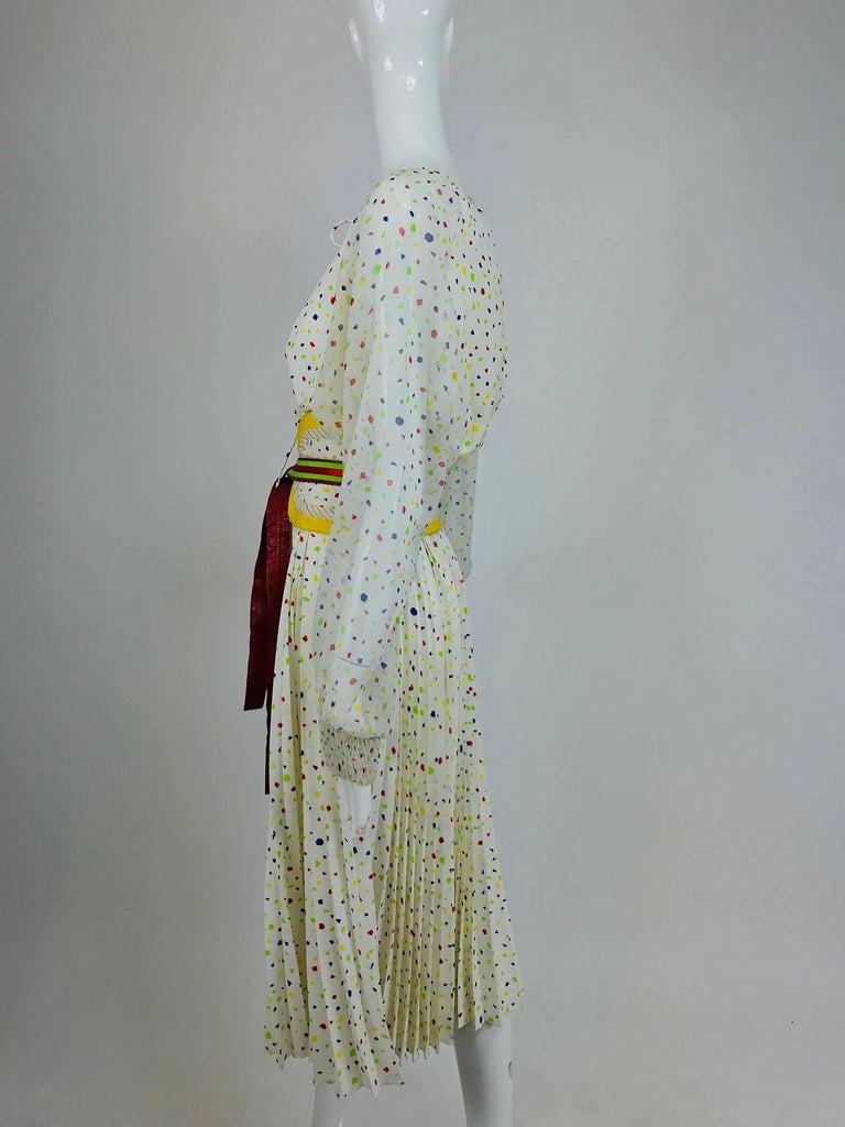 Koos Van Den Akker confetti printed dress and wide belt 1980s For Sale 2