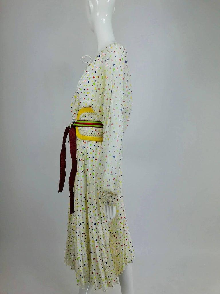 Koos Van Den Akker confetti printed dress and wide belt 1980s For Sale 3