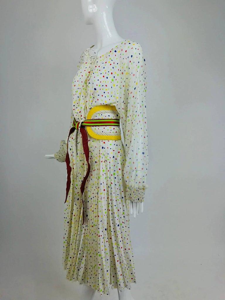 Koos Van Den Akker confetti printed dress and wide belt 1980s For Sale 4