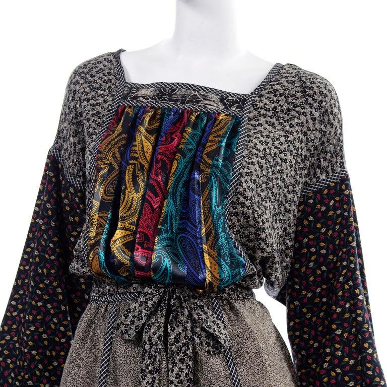 Koos Van den Akker Couture Collage Vintage 2 Piece Dress Abstract Patchwork For Sale 6