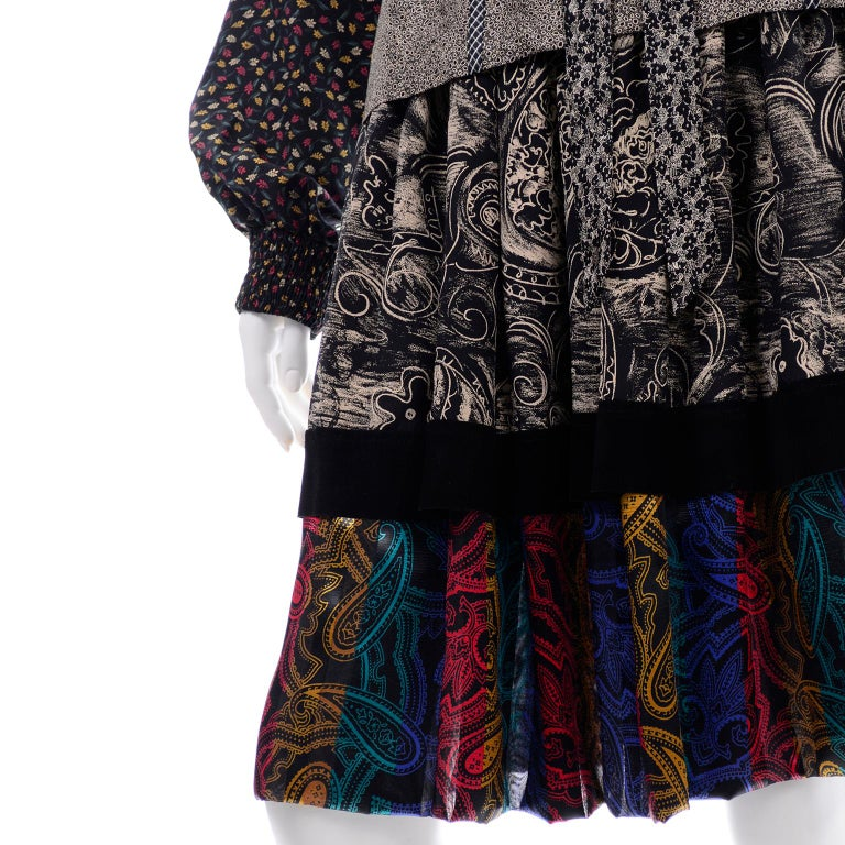 Koos Van den Akker Couture Collage Vintage 2 Piece Dress Abstract Patchwork For Sale 7