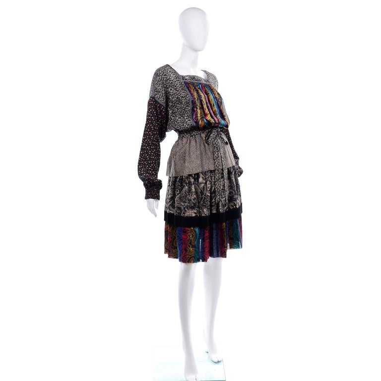 Koos Van den Akker Couture Collage Vintage 2 Piece Dress Abstract Patchwork In Excellent Condition For Sale In Portland, OR