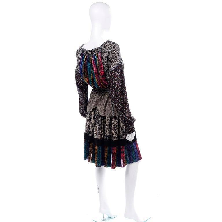 Women's Koos Van den Akker Couture Collage Vintage 2 Piece Dress Abstract Patchwork For Sale