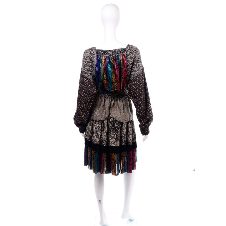 Koos Van den Akker Couture Collage Vintage 2 Piece Dress Abstract Patchwork For Sale 1