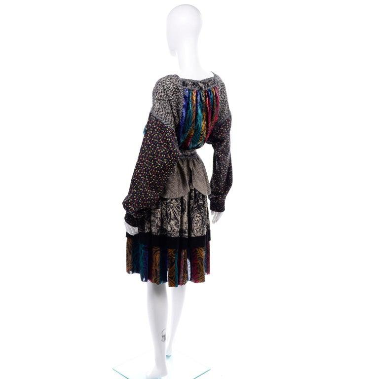 Koos Van den Akker Couture Collage Vintage 2 Piece Dress Abstract Patchwork For Sale 2