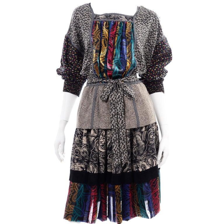 Koos Van den Akker Couture Collage Vintage 2 Piece Dress Abstract Patchwork For Sale 5