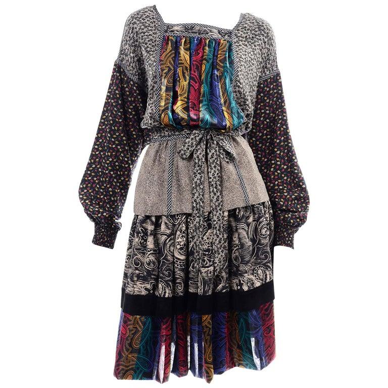 Koos Van den Akker Couture Collage Vintage 2 Piece Dress Abstract Patchwork For Sale