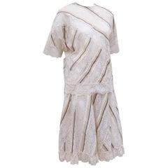 Koos Van den Akker Silk & Lace Patchwork Two Piece Dress, 1980's