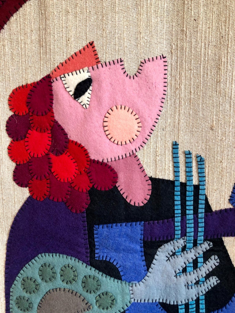 Wool Felt Applique Original Vintage Israeli Judaica Folk Art Signed Tapestry For Sale 2
