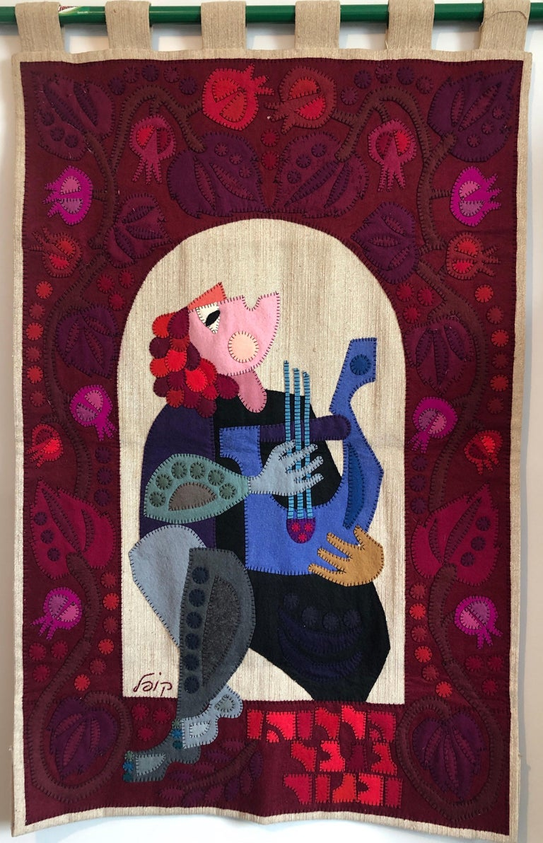 Wool Felt Applique Original Vintage Israeli Judaica Folk Art Signed Tapestry For Sale 7