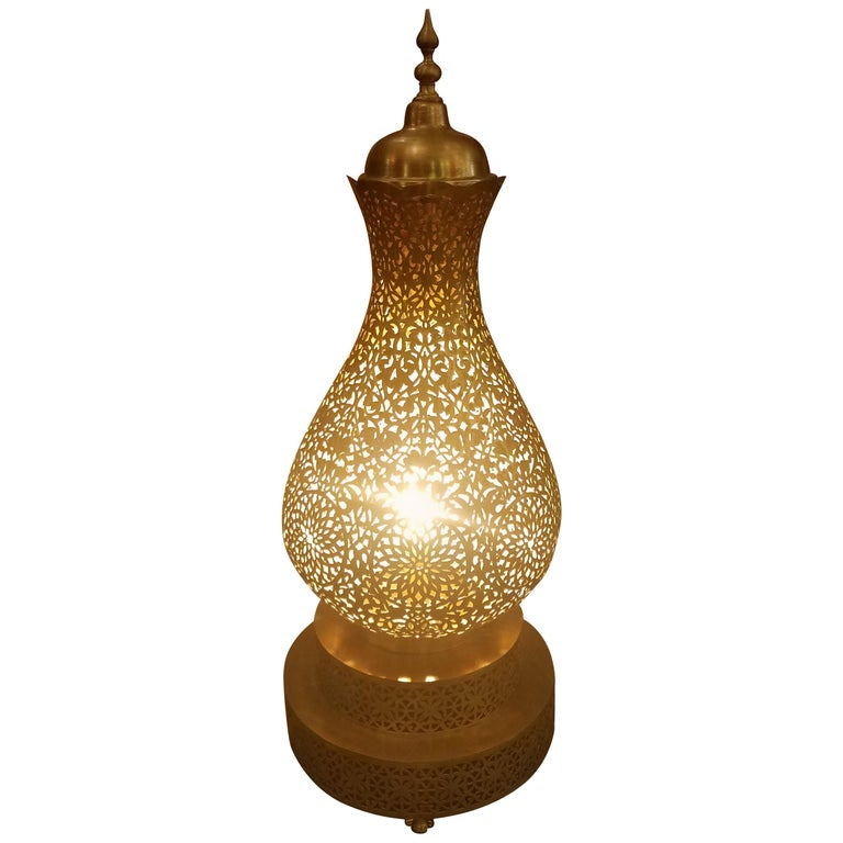 Koppa Intricate Moroccan Copper Lamp Or Lantern Table Lamp For Sale