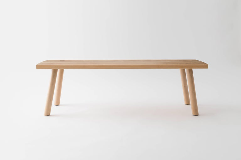 The Korben bench is built by hand in our Brooklyn studio using premium hardwoods. Simple and sturdy, the bench highlights its through joinery and a minimal Silhouette. Sized for a standard dining bench, it also well suited as a coffee or cocktail