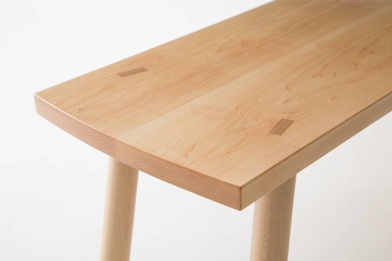 Scandinavian Modern Korben Bench, Solid Hardwood, Customizable For Sale