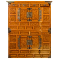Korean 19th Century Burl Wood and Brass Two-Part Cabinet with Doors and Drawers