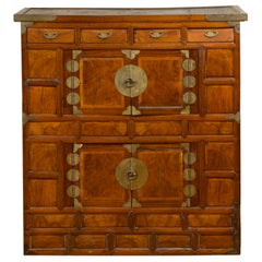 Korean 19th Century Two-Toned Wooden Cabinet with Brass Hardware