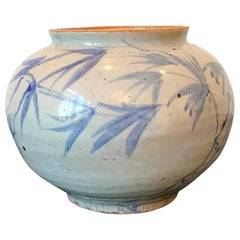 Korean Blue and White Ceramic Jar Joseon Dynasty