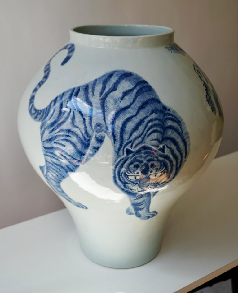 Hand-Painted Korean Blue and White Porcelain Vase with Tiger Cat Design For Sale
