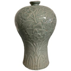 Korean Carved Celadon Vase, Maebyeong, Goryeo Style, Early 20th Century