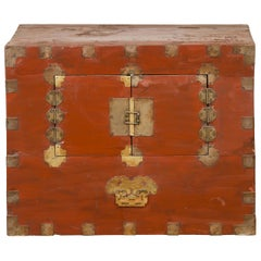 Korean Early 20th Century Chest with Double Doors and Traditional Brass Hardware