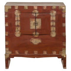 Korean Early 20th Century Side Chest with Traditional Brass Hardware and Legs