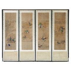 Korean Four Panel Screen of Hunting Scene Joseon Dynasty