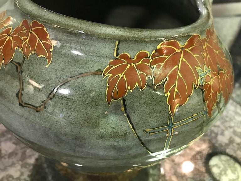 Showa Makuzu Kozan II Signed and Stamped Japanese Ceramic Flower Pottery Bowl Pot For Sale