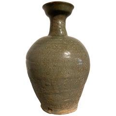 Korean Goryeo Celadon Glazed Bottle Vase with Kintsugi Repair, 12th Century