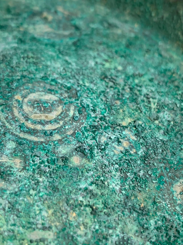 Korean Goryeo Dynasty Bronze Bowl and Cover with Green Patina, 13th Century For Sale 6