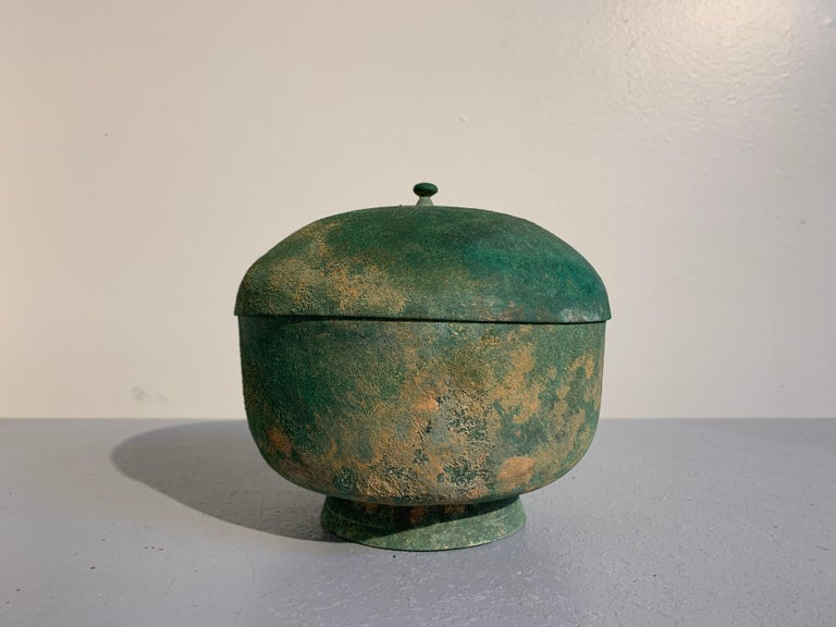 Korean Goryeo Dynasty Bronze Bowl and Cover with Green Patina, 13th Century In Good Condition For Sale In Austin, TX
