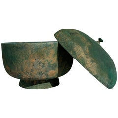 Korean Goryeo Dynasty Bronze Bowl and Cover with Green Patina, 13th Century
