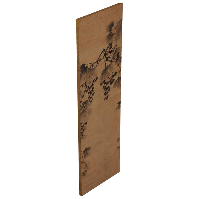 """Grapevine  Anonymous. Korean, 17th century.  Wall panel, ink on paper.  Upper seal:  Kou Kinun in  Lower seal:  Kaigen  Dimensions:  Measures: 98.5 cm x 29.5 cm (39"""" x 11.5"""").  The painting is mounted on a strong, lightweight"""